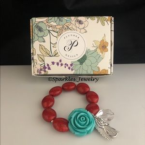 Plunder Greetings Bracelet - Turquoise Flower